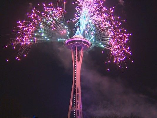 The Space Needle, illuminated in T-Mobile's distinctive magenta brand color, celebrated the arrival of 2017 with the 32nd annual fireworks spectacular  T-Mobile New Year's at the Needle . At ten minutes in length, the show is the largest ever produced for the annual event.