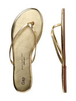 Reception/casino  shoe! Leather flip flops in gold | Gap, $24.95