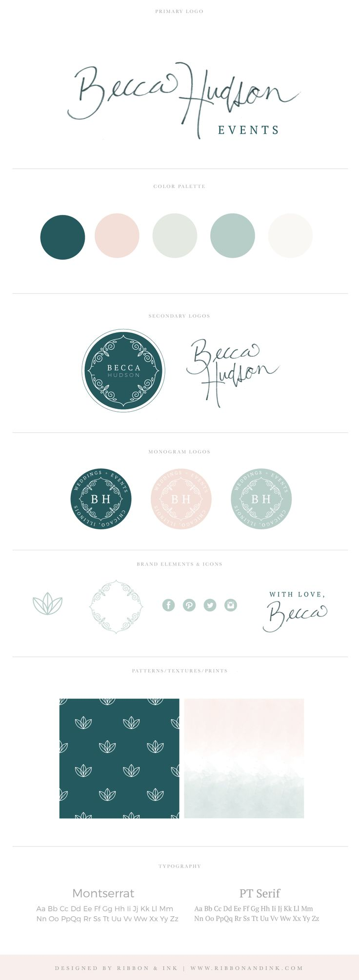 Branding / Web design / website / photographer website / custom website / website ideas/ website inspiration / Brand board / brand design / custom logo / photographer brand / photographer logo / color palette / logo design / teal / hand lettered / wedding planner