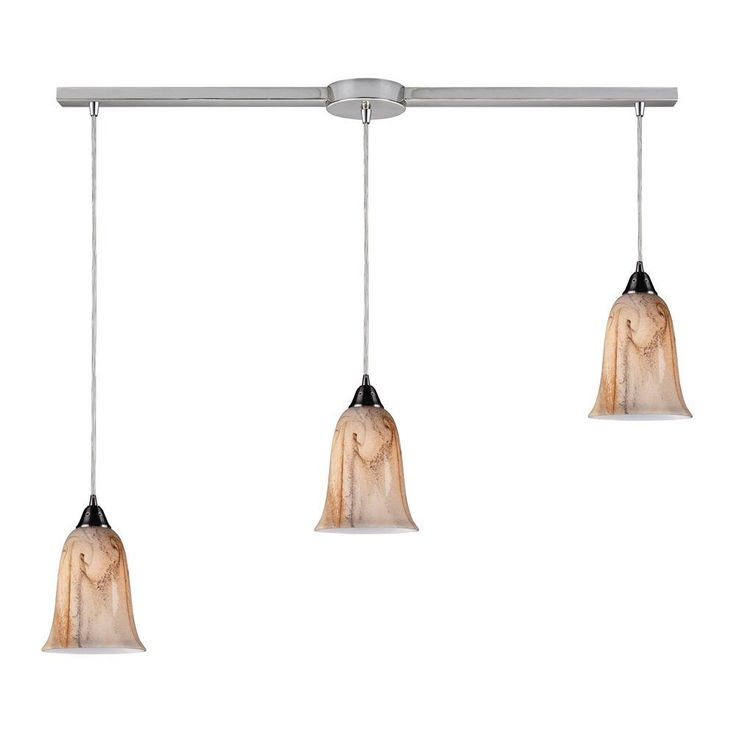Titan Lighting Granite 3-Light Satin Nickel Ceiling Mount Pendant