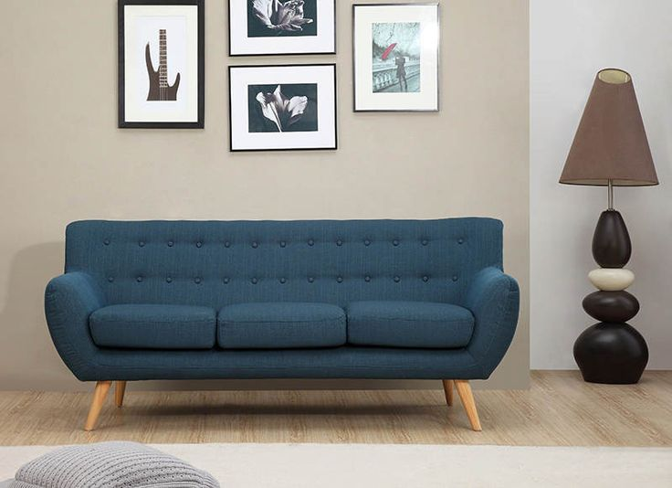 Sixties 3 Seater Sofa - Azure Blue - ICON BY DESIGN