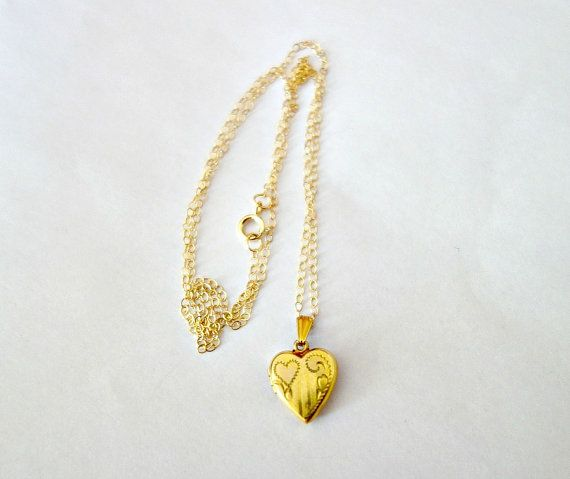 vermeil yellow little jewellery locket chain engraved small selected gold heart lockets and