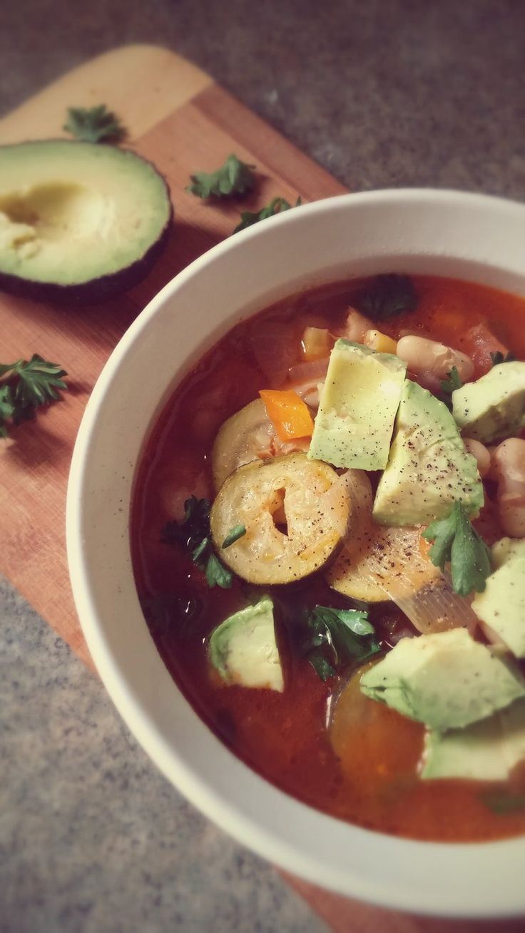 It's time for a Fiesta! Full of delicious vegetables and topped with fresh avocado, there's plenty to celebrate!  #soup #fiesta #vegetables #vegetarian