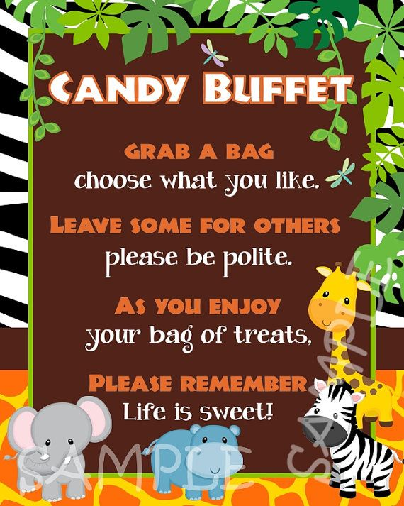 Custom Baby Jungle Safari Candy Buffet by creativelyexpressive, $9.00