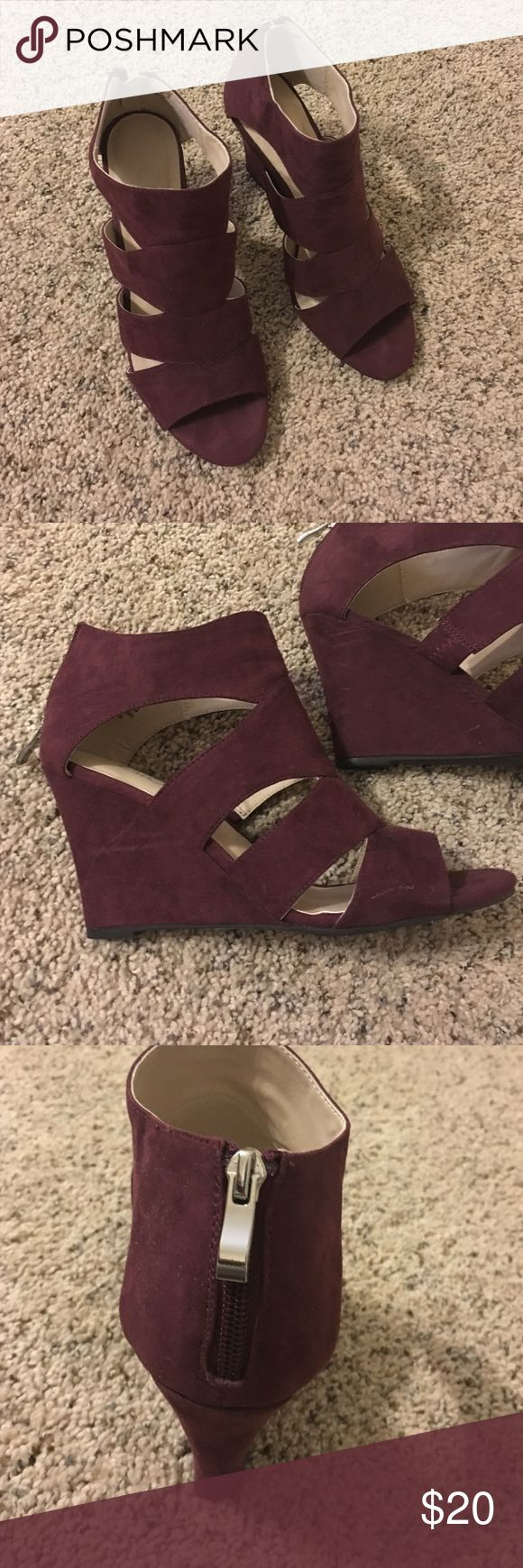 Burgundy wedge sandals Burgundy faux suede cage wedges. Size 8 super comfy! Worn twice Shoes Wedges