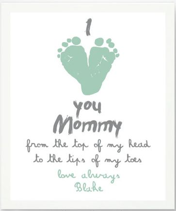 BUY or DIY Mother's Day Gifts for Her.   BUY:  Personalized I Love Mommy Footprint Artwork Print by Pitter Patter Print @ Etsy .