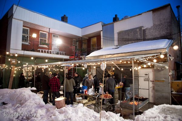 Butcher Blackout 2011: Outdoor Dining in sub-zero weather - Travel Channel's Bizarre Foods @ Joe Beef Montreal
