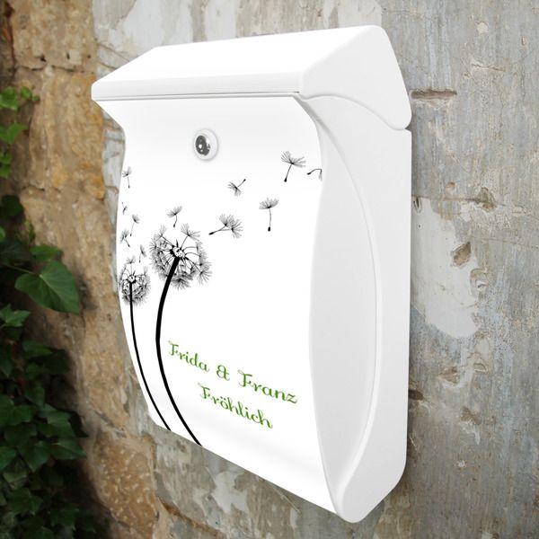 Wunschtext Briefkasten Weiß Motiv Pusteblume 2 von banjado via dawanda.com