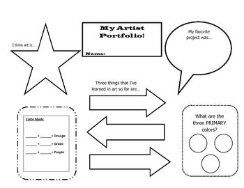 Elementary Art Portfolio Reflection Worksheet...free