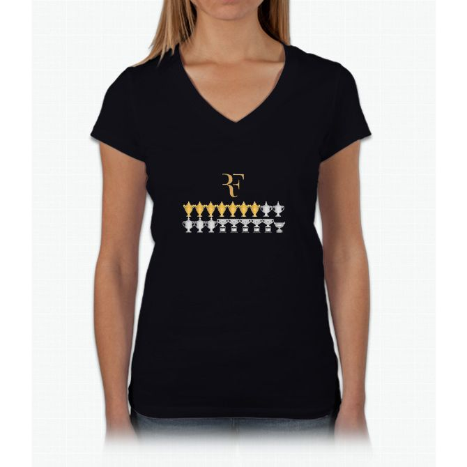 Roger Federer - 18 Grand Slams Womens V-Neck T-Shirt