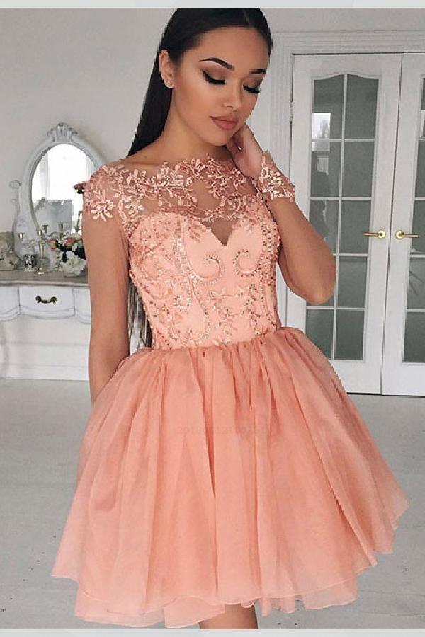 19016c46a34 A-Line Homecoming Dress