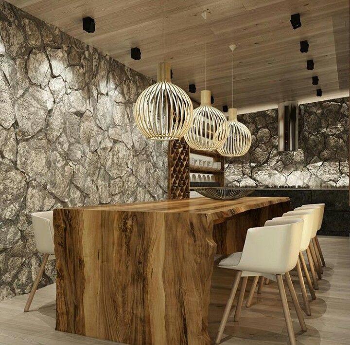 Sala jantar decor um pouco mais r stico com revestimento for Viciados de mesa