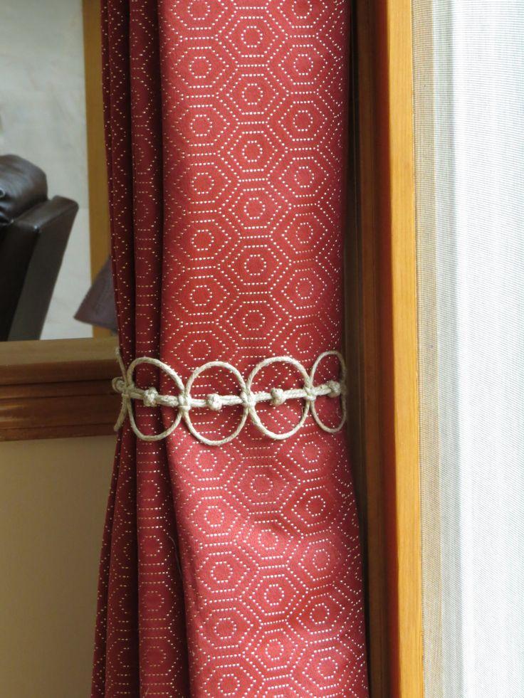 Handmade Natural Thick Hemp Adjustable Curtain Tie Back Square Diamond Knots Shabby Burlap