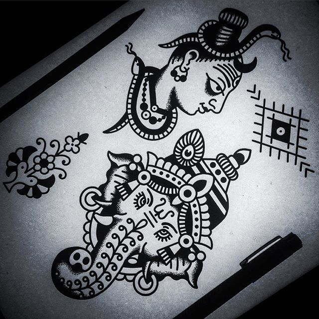 Loads of designs ready for the Goa tattoo convention this weekend. I'm at Anjuna market today if you want to chat and hang out, im easy to spot, long hair, tattoos and indian  #svasti #sacred #swastika #zen #mattchahal