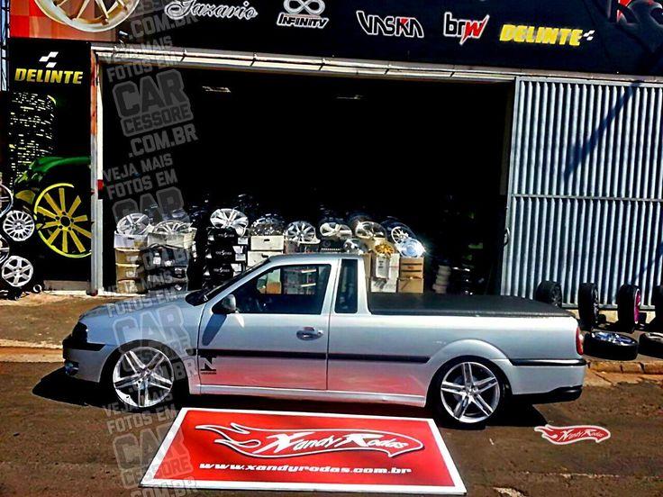 VW Saveiro G3 prata rebaixada com rodas aro 17 MAK Variante | Silver, sport springs lowered VW Saveiro MK3 with 17-inch rims