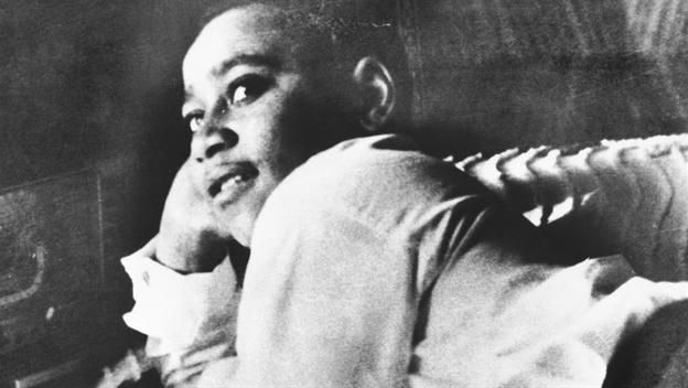 While visiting family in Money, Mississippi, 14-year-old Emmett Till, an African American from Chicago, is brutally murdered for flirting with a white woman four days earlier. Description from history.com. I searched for this on bing.com/images