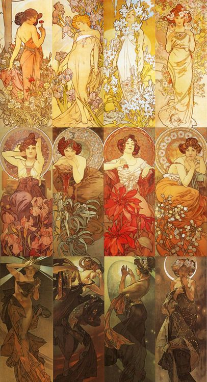 sigridhr:    top to bottom, left to right: The Flowers: Carnation, Iris, Lily Rose; The Precious Stones: Amethyst, Emerald, Ruby, Topaz; The Moon and Stars: The Morning Star, The Evening Star, The Polar Star, the Moon.   Alphonse Mucha (1860-1939).