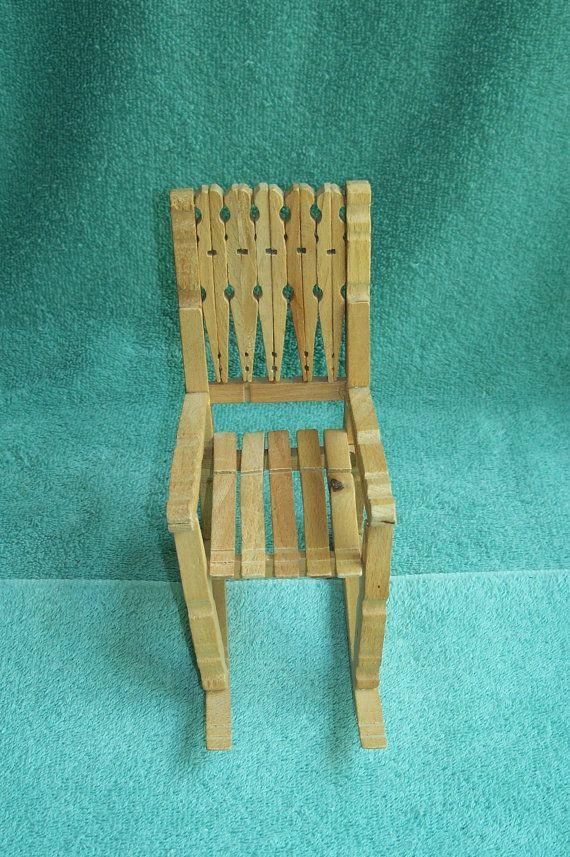 Vintage Handmade Clothespin Rocking Doll Chair Barbie  Chair/Blythe/Momoko/MonsterHigh/Folk