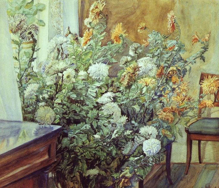 Anna Syberg - Interiør med krysantemum - 1905