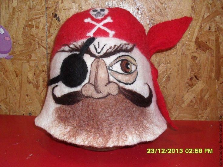 Купить или заказать Шапка для бани 'Пират' в интернет-магазине на Ярмарке Мастеров. Банная шапка ручной работы. Шапка для бани 'Пират'. 100% шерсть, войлок. Шапки для бани Син…