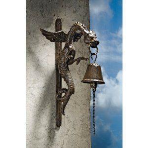 Gothic Medieval Dragon Statue Sculpture Gothic Iron Doorbell Door Knocker