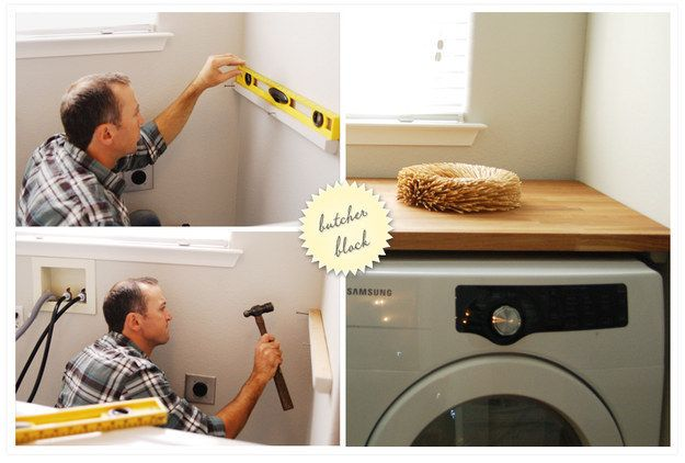 DIY-savvy? Build a removable butcher block countertop to cover your front loaders completely. | 29 Incredibly Clever Laundry Room Organization Ideas