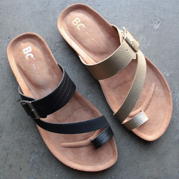 Take casual to the next level with these boxer slip on sandals! - adjustable buckle strap along instep. - easy slip on wear. - molded footbed. - man-made outsole. - By bc footwear ; imported - color: