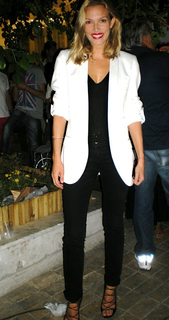 Vicky Kaya in a black & white outfit http://fashionreactor.blogspot.gr/2012/09/street-looks-from-fashions-night-out.html#