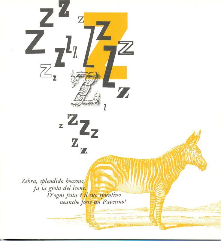 Filastrocche ispirate ai Pavesini con le varie lettere dell'Alfabeto, impaginate con rigore grafico da Erberto Carboni nel 1968: lettera Z