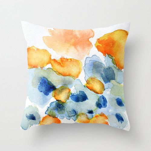 Flower Inkling    Decorative Pillow Cover with a print of my original watercolor design on both sides.  Based on my watercolor flower painting in