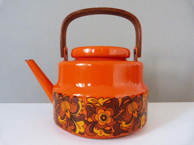 Vintage orange enamel kettle / teapot by planetutopia on Etsy