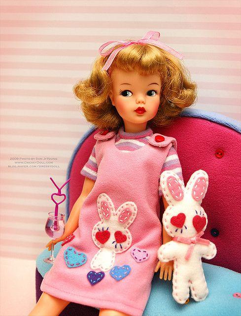 Ideal Tammy doll wearing a cute bunny jumper. |  www.dressydoll.com blog.naver.com/dressydoll