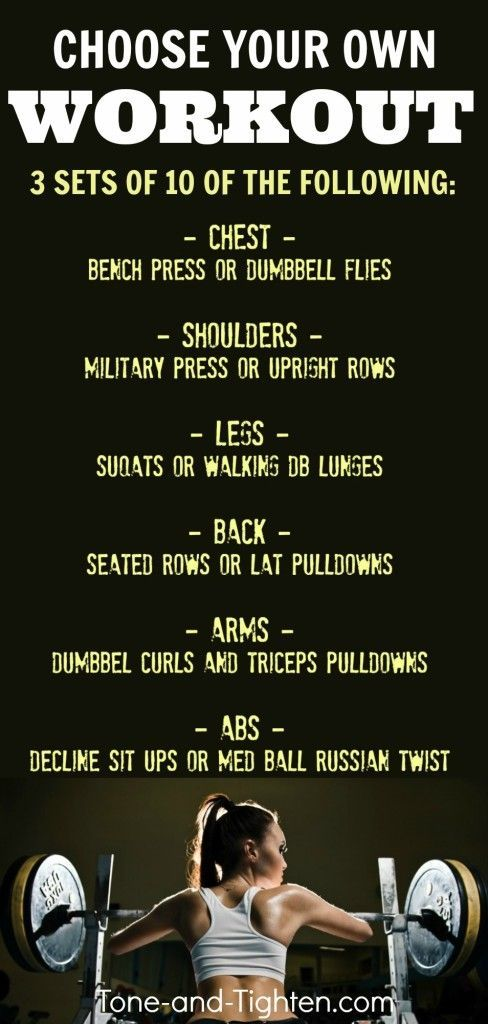 Quick, total-body gym workout! I choose the order and amount, you choose the exercise.