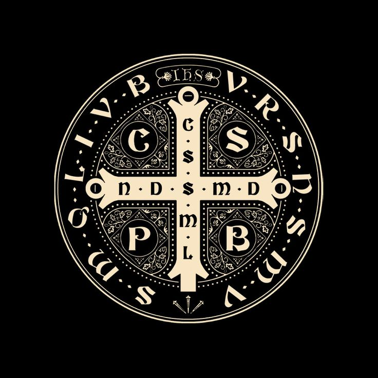 C.S.P.B.: CRUX SANCTI PATRIS BENEDICTI (The cross of our Holy Father Benedict) C.S.S.M.L.: CRUX SACRA SIT MIHI LUX (May the Holy Cross be my light) N.D.S.M.D.: NUNQUAM DRACO SIT MIHI DUX (May the dragon never be my guide) V.R.S.: VADE RETRO SATANA (Begone Satan) N.S.M.V.: NUNQUAM SUADE MIHI VANA (Never tempt me with your vanities) S.M.Q.L.: SUNT MALA QUAE LIBAS (What you offer me is evil) I.V.B.: IPSE VENEA BIBAS (Drink the poison yourself)