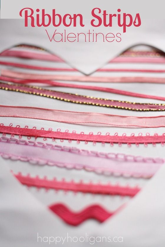 Ribbon heart Valentine's cards for toddlers and preschoolers to make
