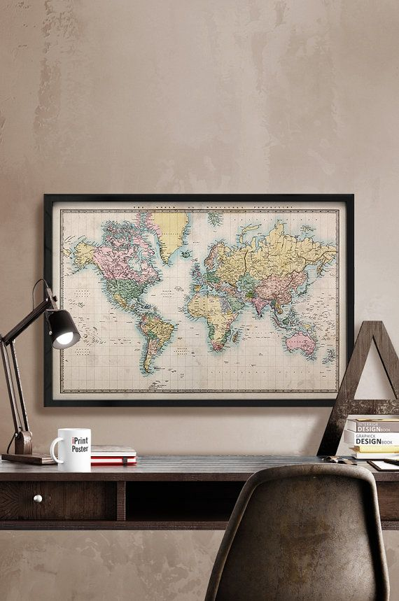Best 25 vintage world maps ideas on pinterest world maps world vintage world map art print 1850 old world map by iprintposter gumiabroncs Gallery