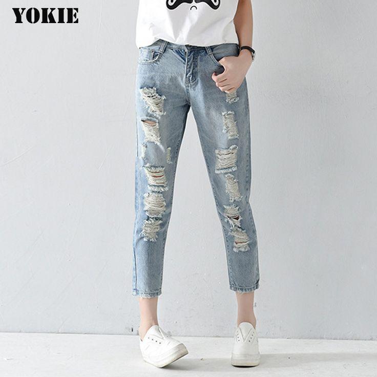 Plus size 25-32 Hole ripped jeans women harem pants loose ankle-length pants Boyfriends For woman Ladies skinny jeans