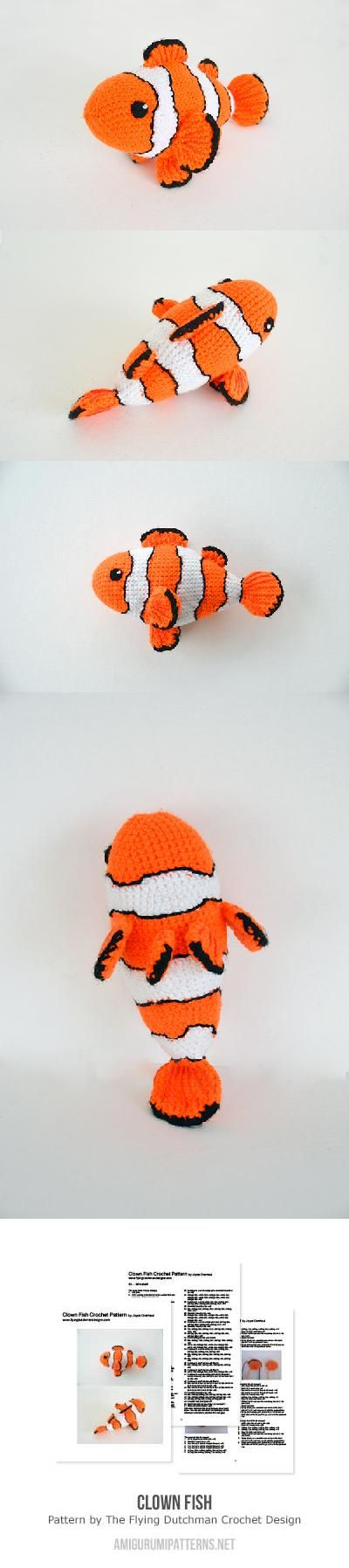 Clown fish amigurumi pattern by The Flying Dutchman Crochet Design