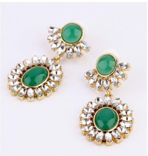 New-Pretty-Delicate-Dark-Green-Resin-Rhinestone-Flower-Drop-Dangle-Stud-Earrings