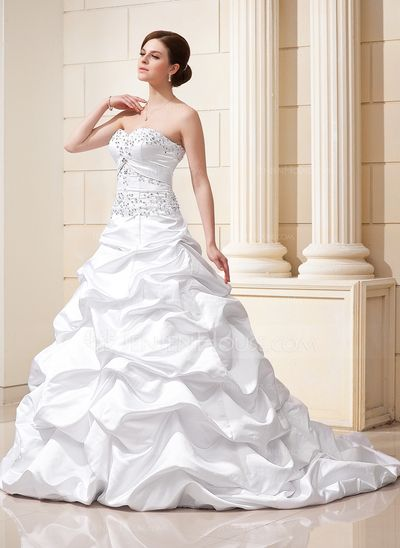 99590d23c44 Ball-Gown Sweetheart Court Train Satin Wedding Dress With Ruffle Beading  Appliques Lace Sequins (002012635) - JenJenHouse
