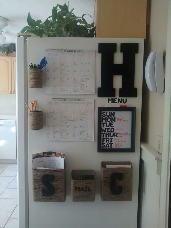 Short on space? When in doubt, use the side of the refrigerator for your family command center. This is great if you want to move things around or replace certain baskets or calendars since everything is magnetic. Love how they included a weekly menu too!