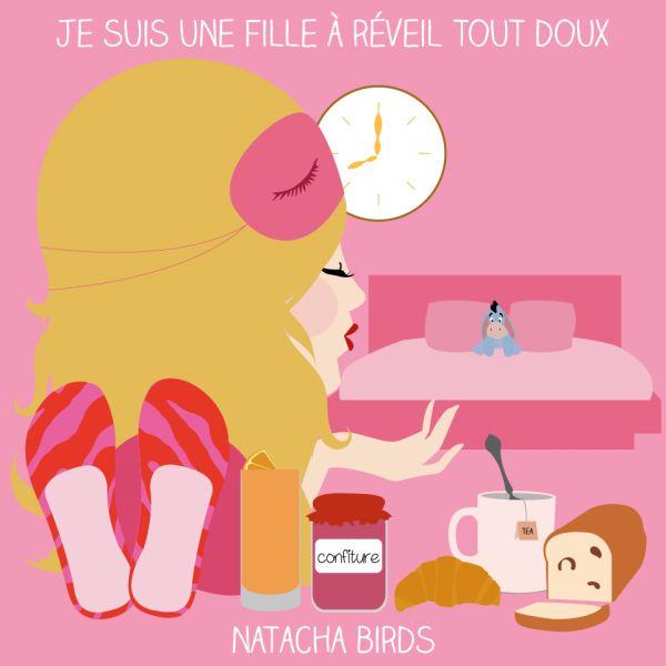 """le mug """"fille à réveil tout doux"""" by Natacha Birds"""