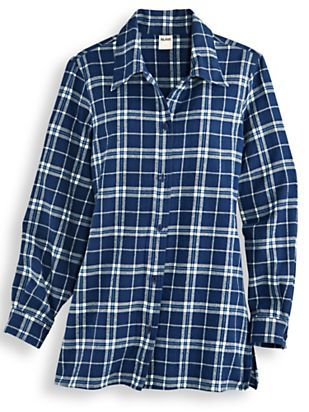 Try Blair's super-soft cotton, flannel shirt for a new layering favorite! This ladies flannel shirt comes in subtle pastel colors & a variety of sizes.