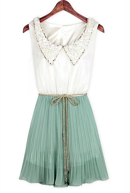 dainty.Mint Green, Style, Cute Dresses, Peter Pan Collars, Mint Teas, Collars Dresses, Accordion Dresses, Pleated Skirts, Vintage Collars