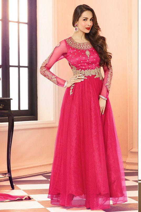 USD 59.48 Malaika Arora Khan Pink Net Bollywood Suit 56033