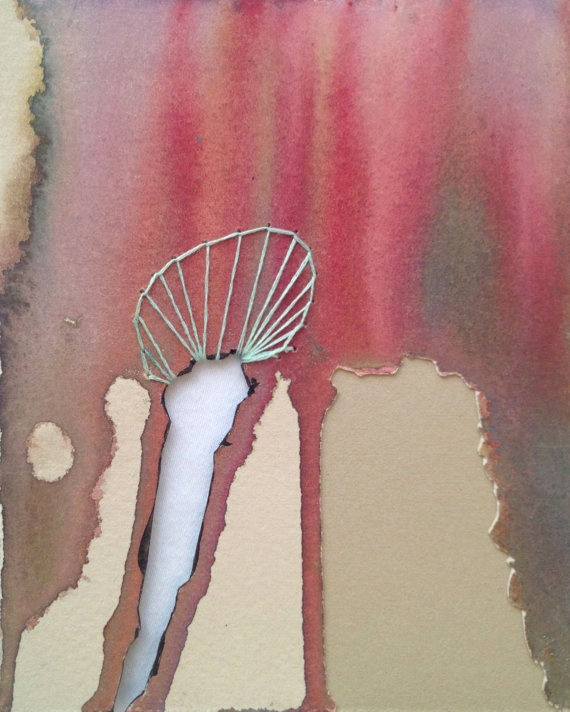 4x5 Mini Artwork  Mixed Media Watercolor Cotton by 1201South, $15.00