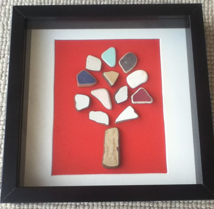 """""""Colourful tree"""" Pieces of ceramic, sculpted by the sea, join together to create artworks..."""
