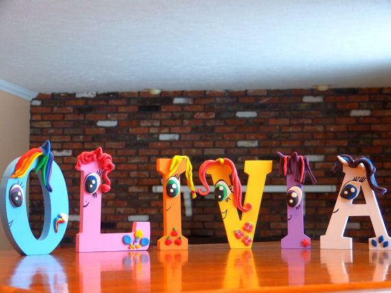 My Little Pony Inspired Wooden Letters by CreationsLK on Etsy