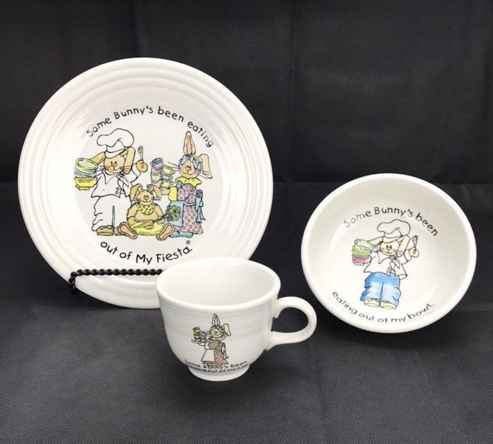 Fiestaware Kids Set Dishes Homer Laughlin Bowl Plate Cup Easter Bunny Rabbit Childrens Fiesta Ware Some Bunny S B Kids Set Easter Bunny Rabbit Plates And Bowls