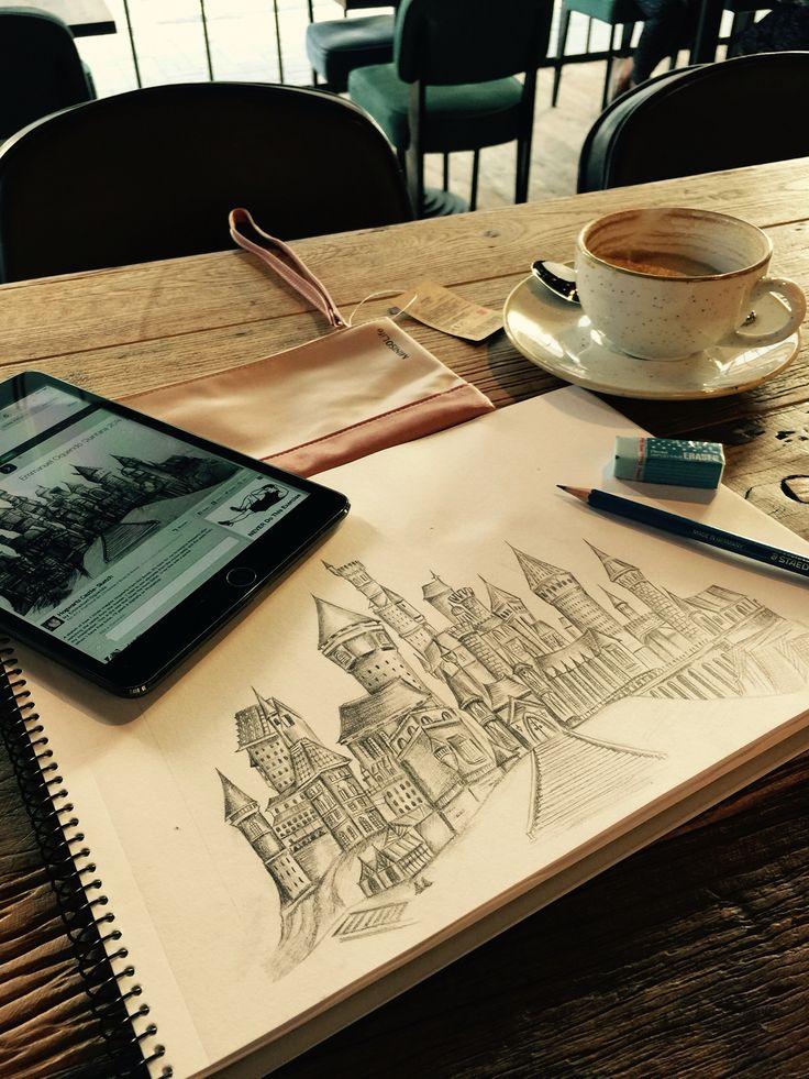 In preparation of Harry Potter Hogwarts Castle - #sketch #art #castle #draw #pencil